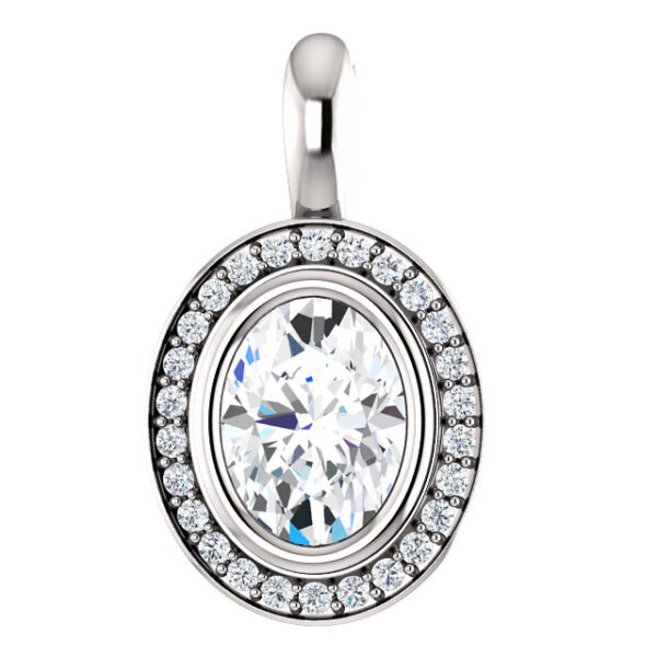 Bezel set halo pendant.