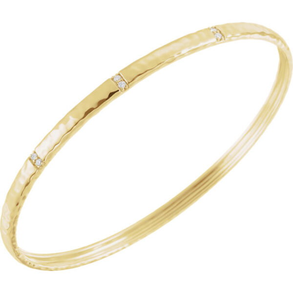 Hand hammered diamond accented thin bangle