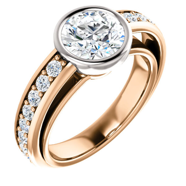 2 tone bezel set ring with accented side stones