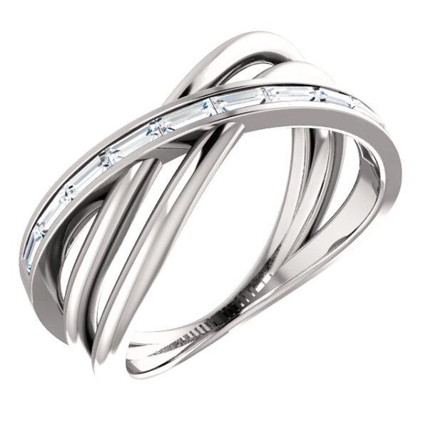 Modern Baguette Criss-Cross ring
